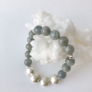 Round Labradorite and Sterling Silver Bracelet