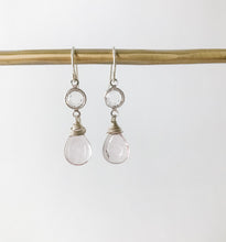 Load image into Gallery viewer, Dainty Pink Quartz Silver Earring