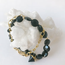 Load image into Gallery viewer, Black Onyx and Gold Bracelet