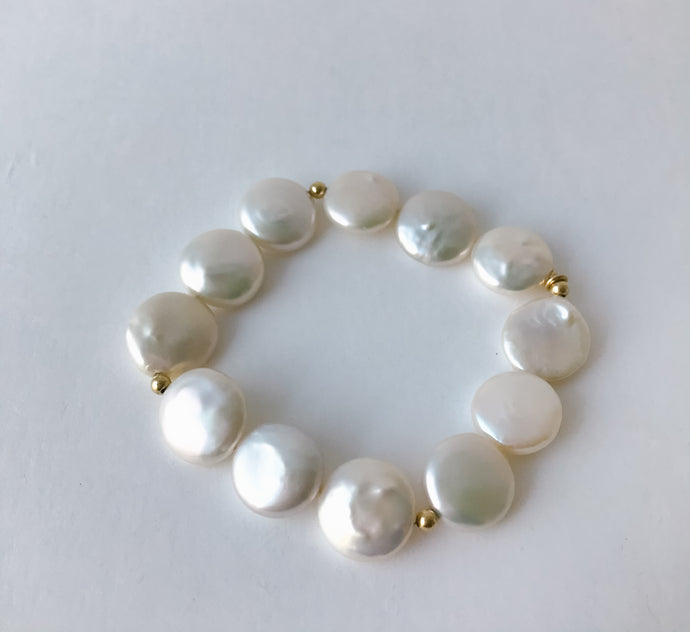 Coin Pearl and Gold Bracelet