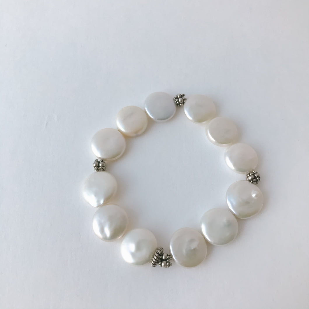 Coin Pearl Sterling Silver Bracelet