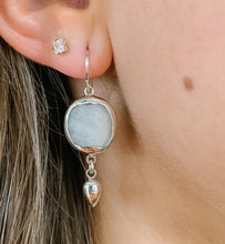 Load image into Gallery viewer, Square Moonstone and Sterling Earring