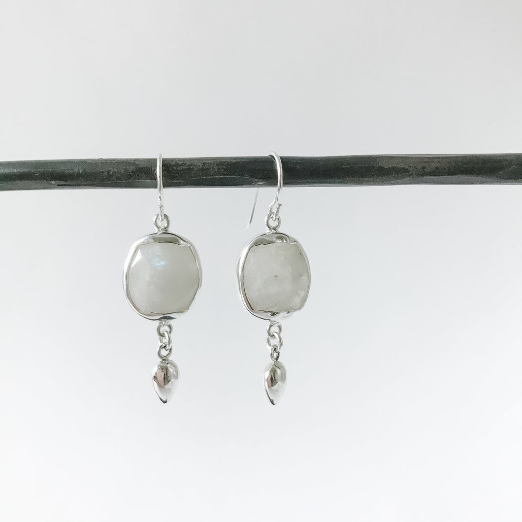 Square Moonstone and Sterling Earring