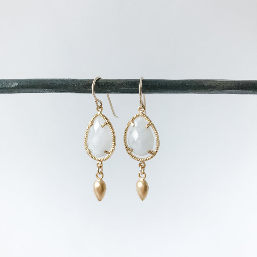 Moonstone Teardrops and Gold Earring