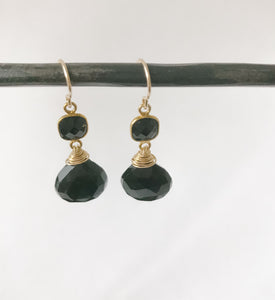 Black Obsidian and Gold Earring