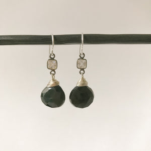 Black Obsidian and Sterling Earring