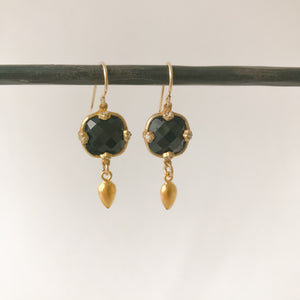 Square Black Onyx and Gold Earring