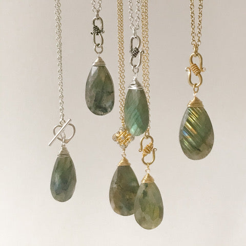 Large Labradorite with Gold Necklace