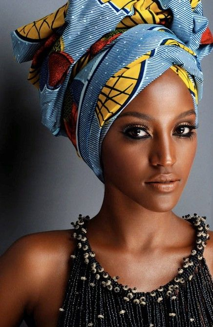 model in brightly colored turban
