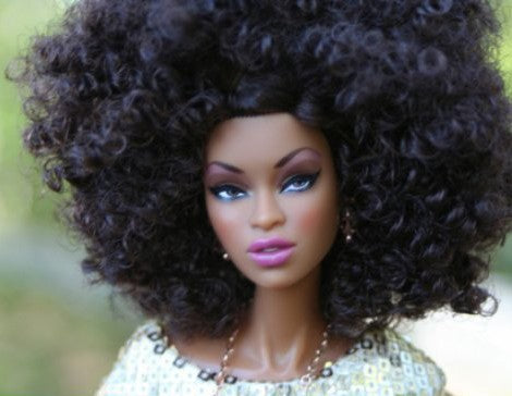 Barbie with kinky curly hair