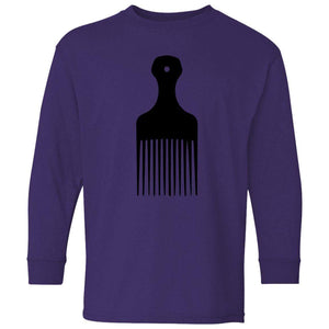 Afro Pick- Natural Hair | Youth Long Sleeve Tee-T-Shirts-Swagtastic Gear
