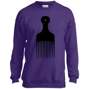 Afro Pick- Natural Hair | Youth Sweatshirt or Hoodie-Apparel-Swagtastic Gear