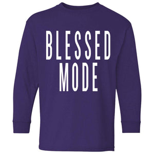 BLESSED MODE | Youth Long Sleeve Tee-T-Shirts-Swagtastic Gear