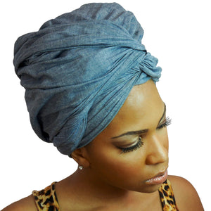 Denim Headwrap-Headwraps-Swagtastic Gear