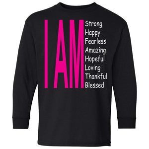 I Am: Strong, Happy, and Amazing | Youth Long Sleeve Tee-Apparel-Swagtastic Gear