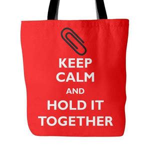 Keep Calm and Hold it Together: Paper Clip Tote Bag-Tote Bags-Swagtastic Gear