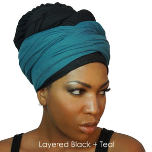 Stretch Jersey Knit Head Wrap - Black-Headwraps-Swagtastic Gear