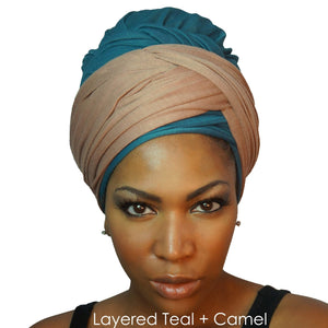 Stretch Jersey Knit Head Wrap - Camel-Headwraps-Swagtastic Gear