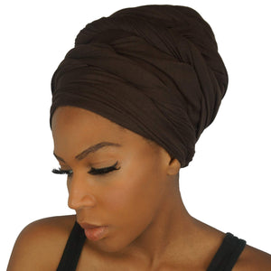 Stretch Jersey Knit Head Wrap - Chocolate-Headwraps-Swagtastic Gear