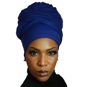Stretch Jersey Knit Head Wrap - Cobalt-Headwraps-Swagtastic Gear