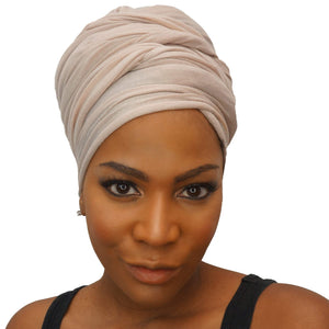 Stretch Jersey Knit Head Wrap - Cream-Headwraps-Swagtastic Gear