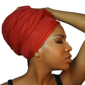 Stretch Jersey Knit Head Wrap - Crimson-Headwraps-Swagtastic Gear