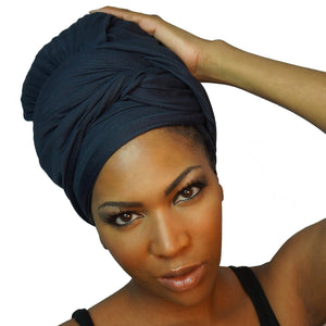 Stretch Jersey Knit Head Wrap - Midnight Navy-Headwraps-Swagtastic Gear