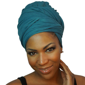 Stretch Jersey Knit Head Wrap - Teal-Headwraps-Swagtastic Gear