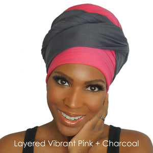 Stretch Jersey Knit Head Wrap - Vibrant Pink-Headwraps-Swagtastic Gear