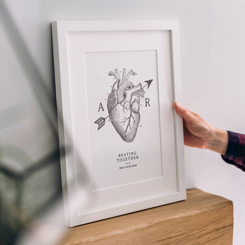 Personalised Anatomical Love Heart Print For Couples