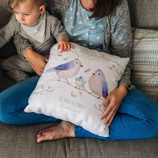 Personalised Bird Family Faux Suede Cushion