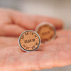 Personalised Wooden Wedding Venue Coordinate Cufflinks