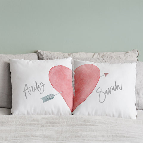 Pair Of Personalised Valentines Love Heart Cushions