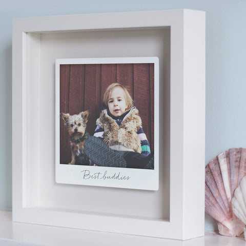 Personalised Framed Floating Metal Polaroid Photo
