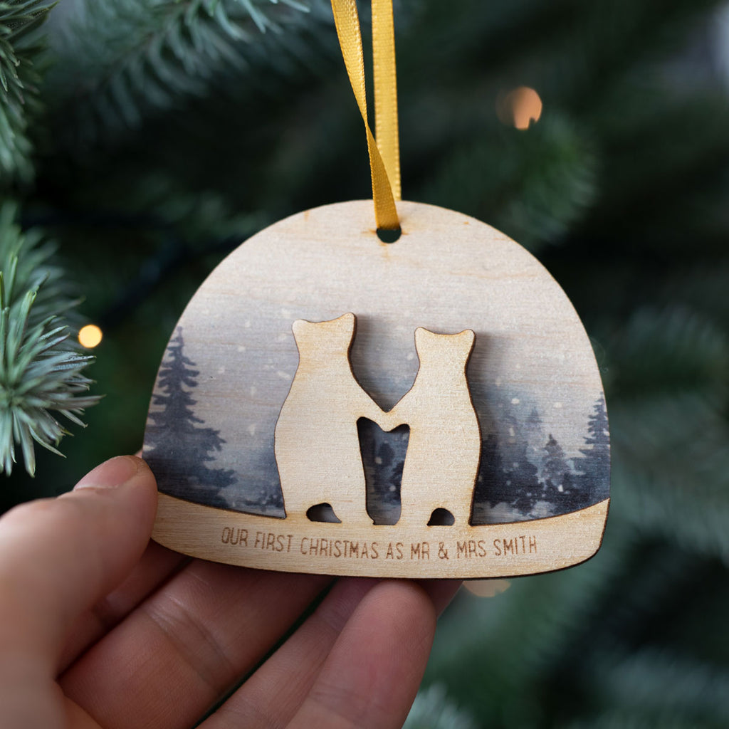 Personalised First Christmas Snow Globe Decoration