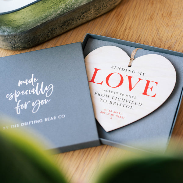 'Love Across The Miles' Personalised Heart Decoration