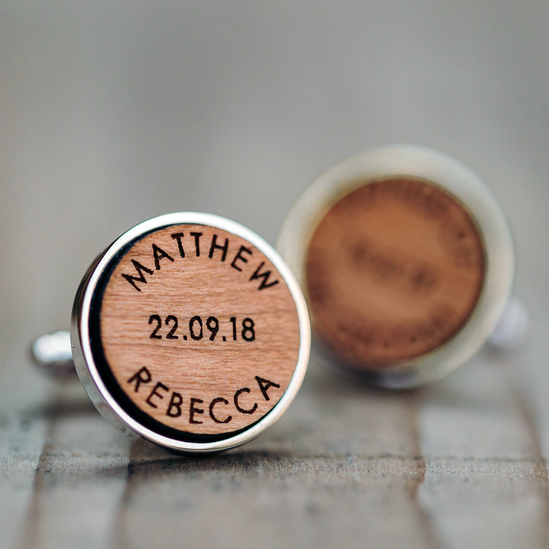 Personalised Names And Date Wooden Wedding Cufflinks