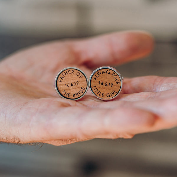 Father Of The Bride Wooden Wedding Date Cufflinks