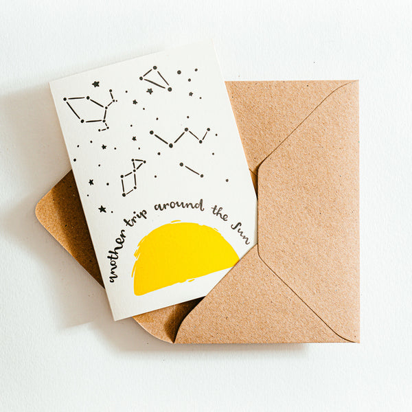 'Another Trip Around The Sun' Recycled Coffee Cup Card