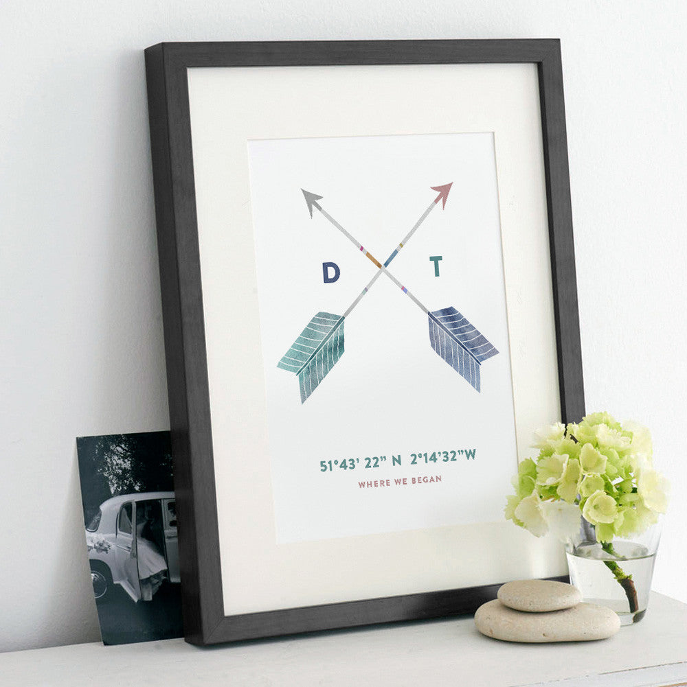 Personalised 'Cupid's Arrows' Special Place Print