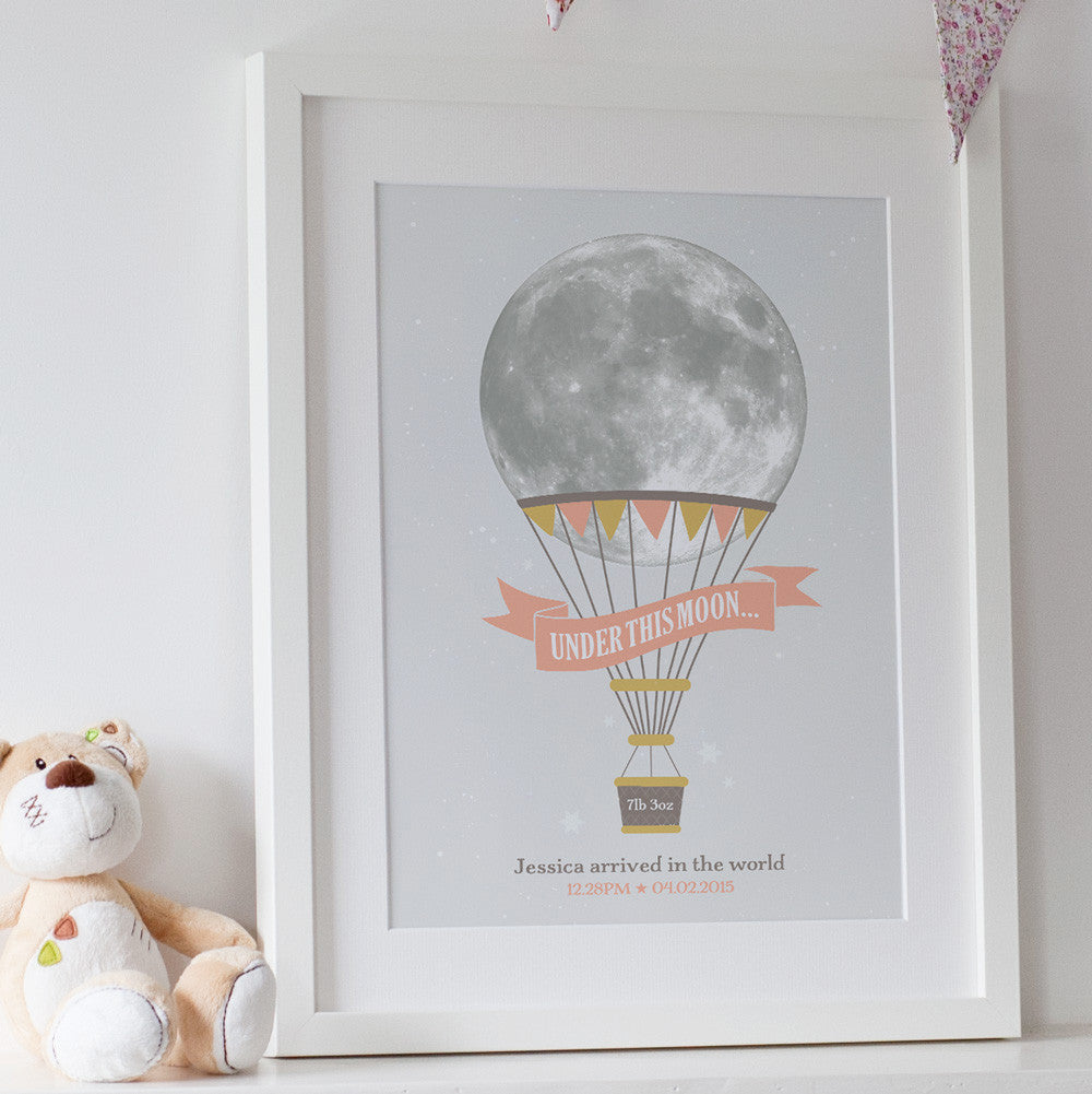 Childs Personalised Hot Air Balloon Moon Print