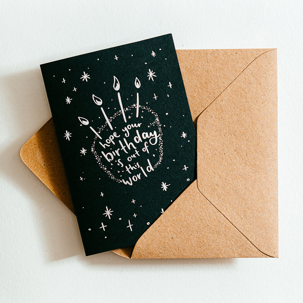 'Hope Your Birthday Is Out Of This World' Recycled Coffee Cup Card