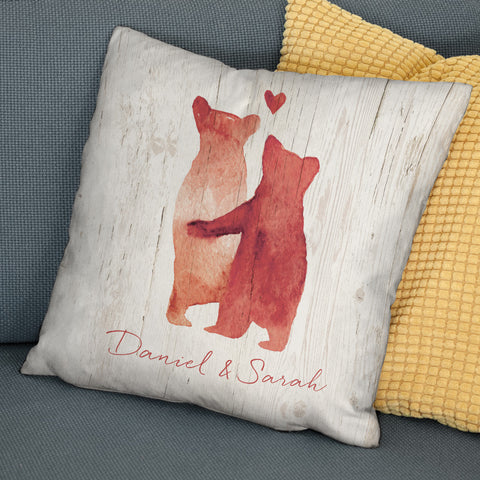 Personalised Bear Couple Faux Suede Cushion