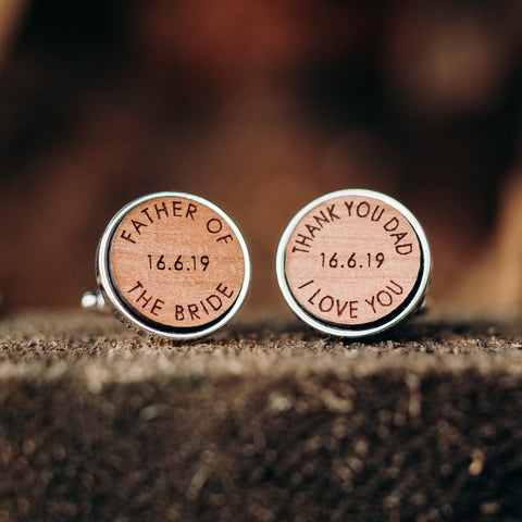 Father Of The Bride Wooden Wedding Thank You Cufflinks
