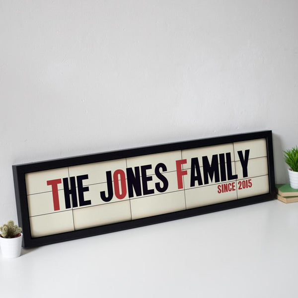 Personalised Family Name Cinema Marquee Print