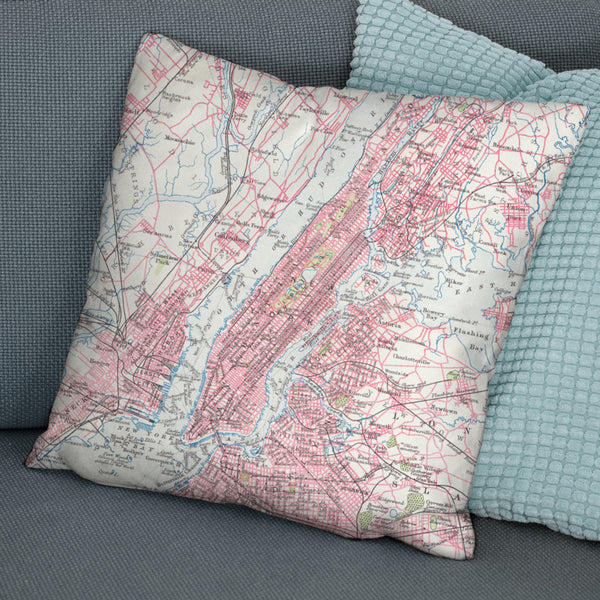 New York City Vintage Map Cushion