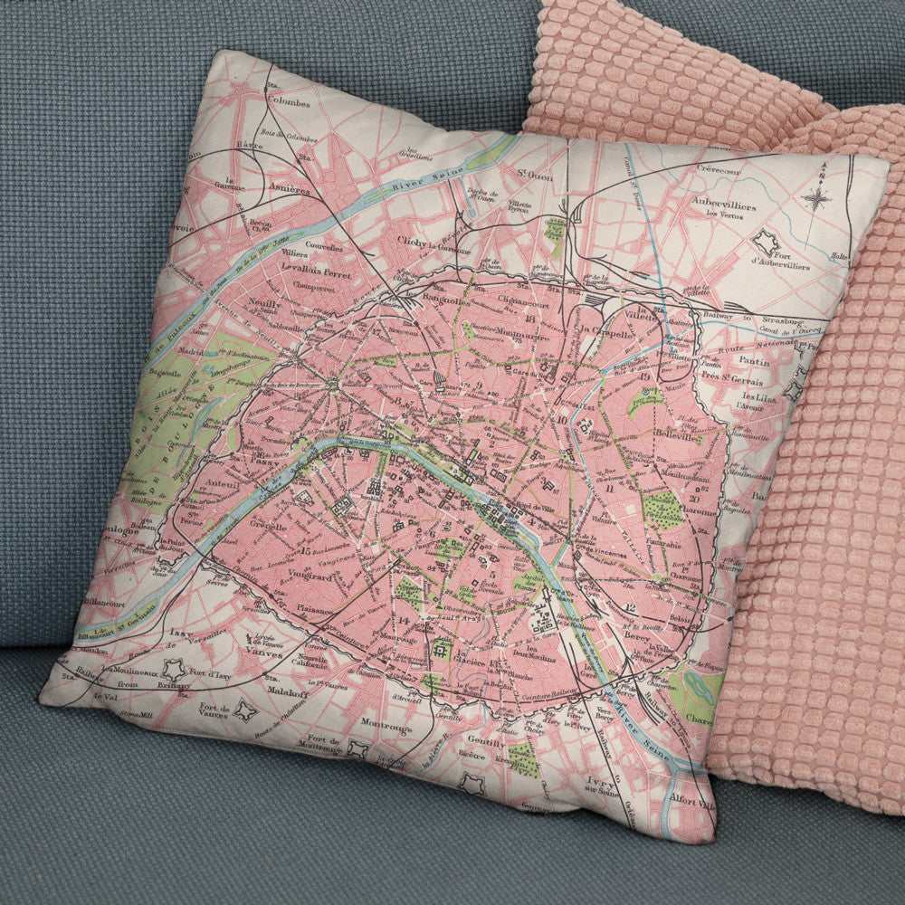 Paris Vintage Map Cushion