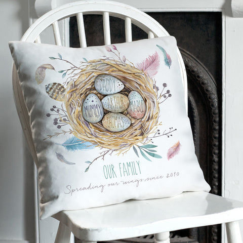 Personalised Family Nest Faux Suede Cushion