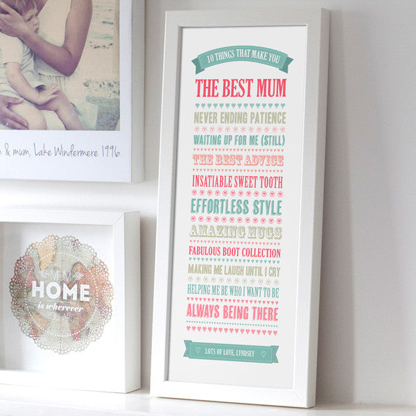 Personalised '10 Things' Best Mum Print