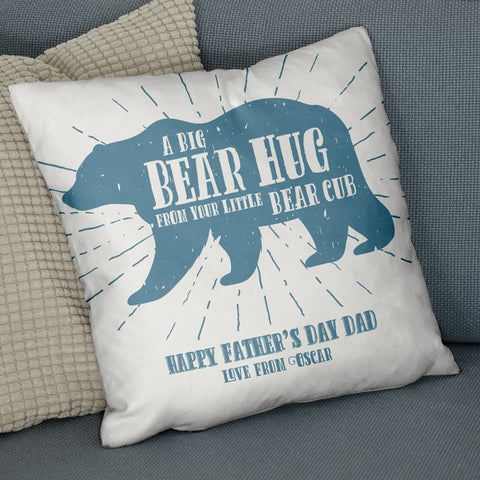 'Bear Hug From Your Bear Cub' Personalised Cushion